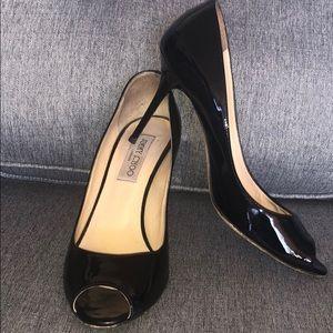 Patent leather peep toe Jimmy Choo heels pumps